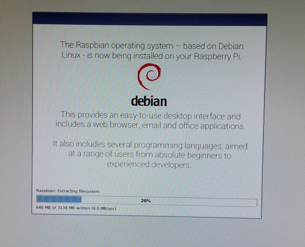 Raspbian OS Being Installed