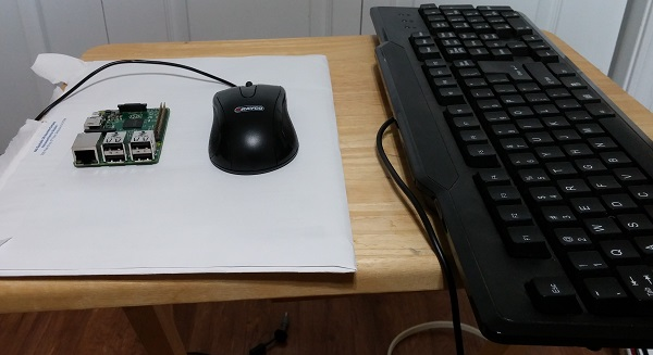 Raspberry Pi with USB keyboard and mouse